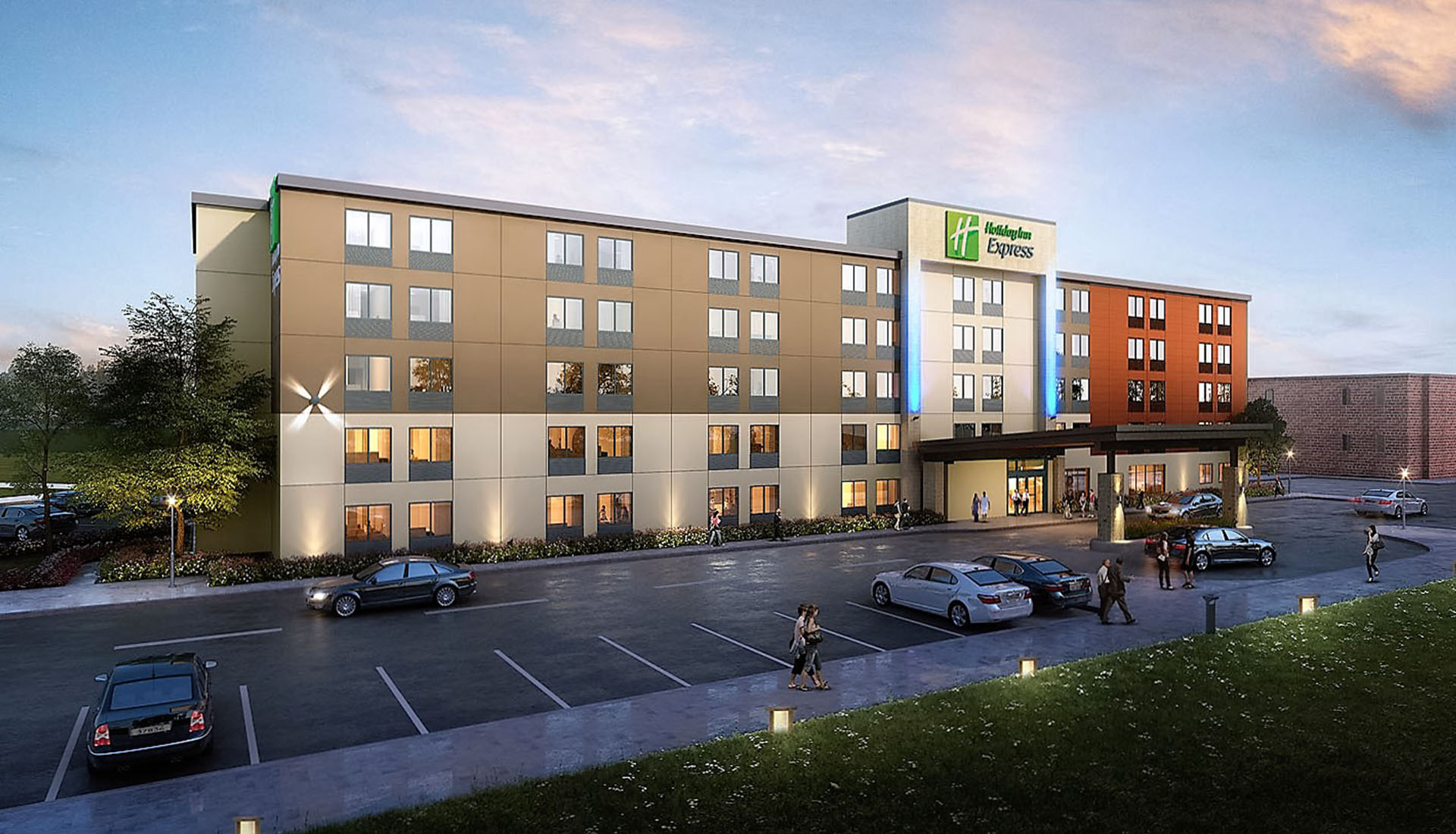 Image of 3D Rendering- Exterior visualization of Hotel project- Holiday Inn Express