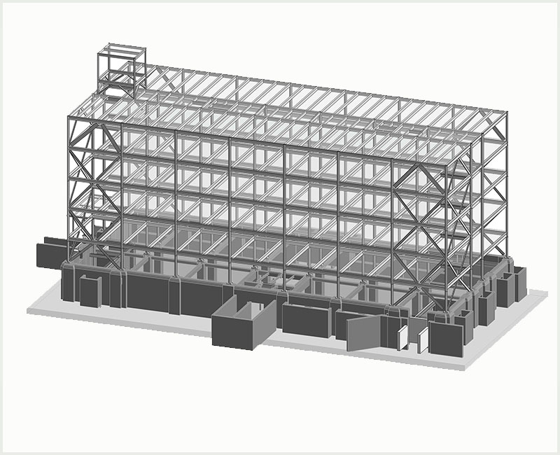 Image of Structural BIM Model of Commercial Project- Storage facility- BIM Structural Services