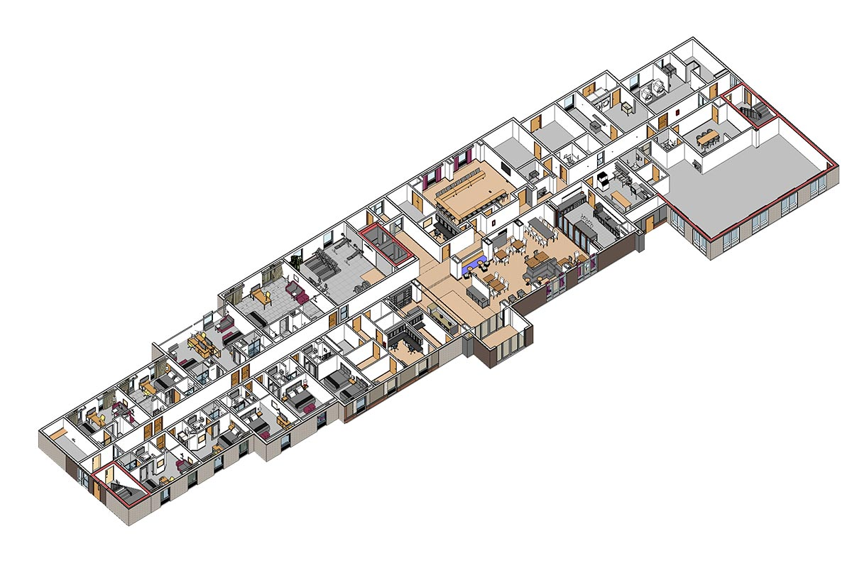 Section-view-of-Hampton-Inn-and-Suites-BIM-Architectural-Modeling-Services in-Colorado-by-United-BIM