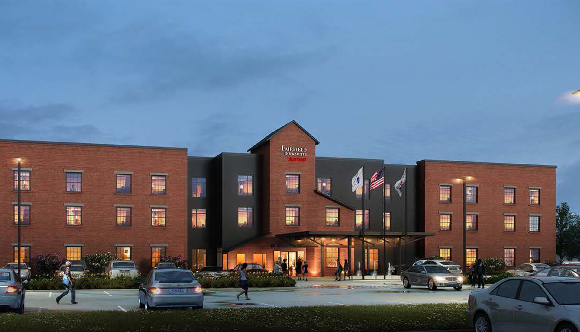 Image of 3D architectural rendering-Exterior visualization of Fairfield Inn & Suites
