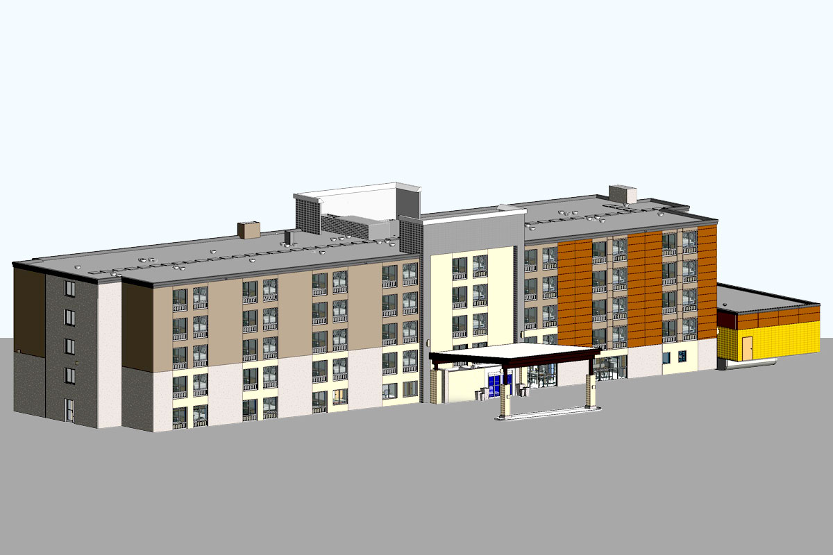 Section-View-of-Holiday-Inn-Express-Architectural-Modeling-Services-by-United-BIM.