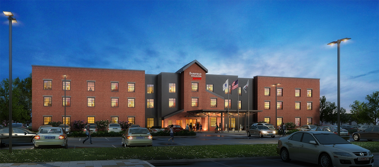 Exterior Rendering of Fairfield Inn & Suites hotel- BIM implementation during construction project