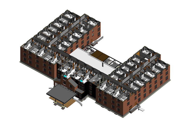 Architectural-Section-Third-Story-Revit-Model-With-Families-of-hotel-project--Modeling-by-United-BIM