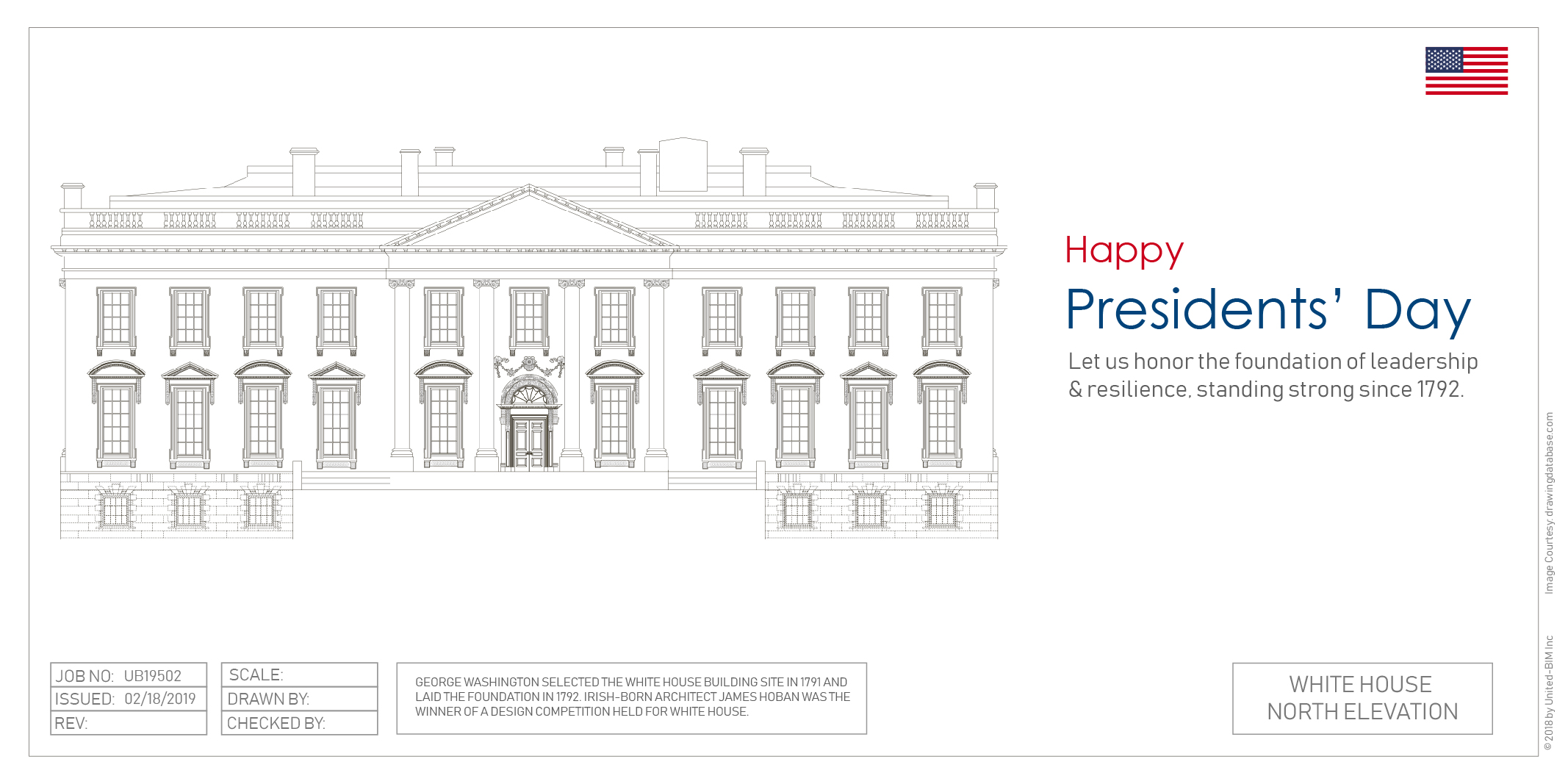 Design Drawing of North Elevation-The White House-Presidents Day wishes by United-BIM Website