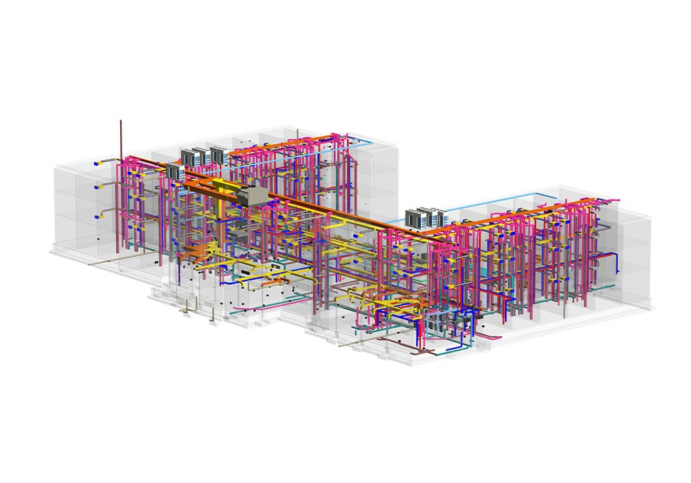 3D BIM MEP-model-with-Structural-Model-BIM-implementation-during-hotel-construction-project- Structural modeling by United-BIM