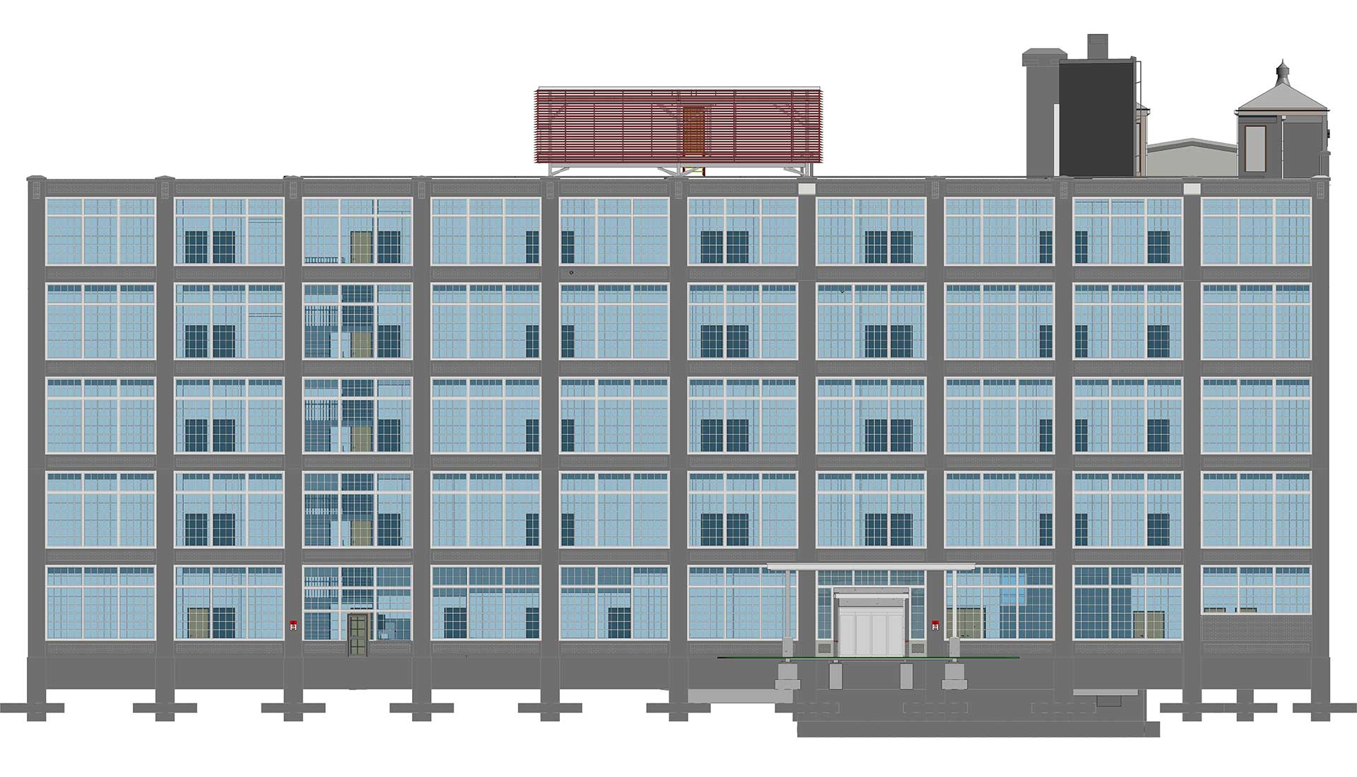 Front-Elevation_Architectural-Revit-Model_BIM-During-Heritage-Hotel-Remodeling