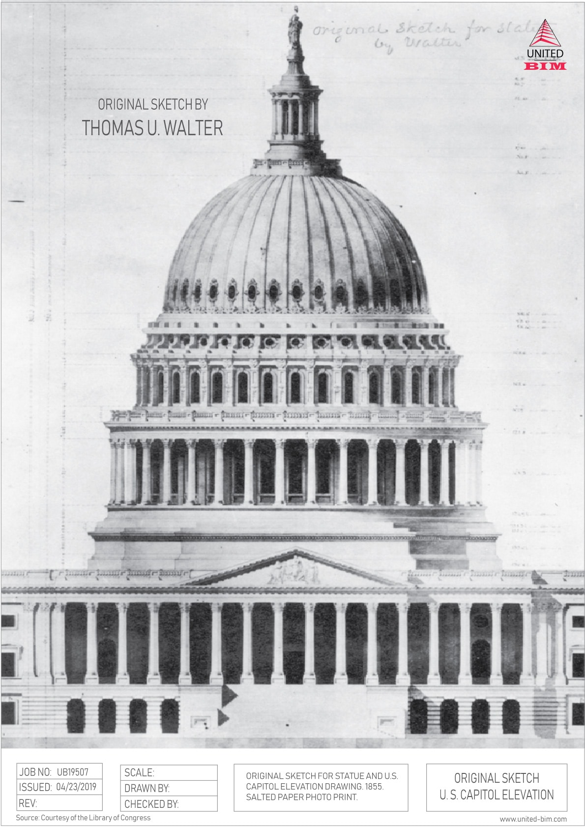 US-Capitol-Original-Sketch-of-Dome-by-Thomas-U-Walter-Elevation
