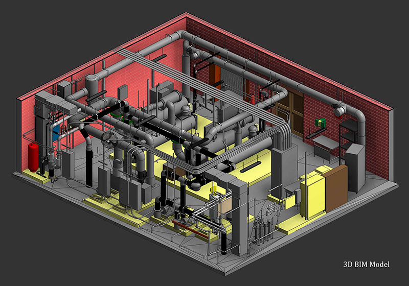 Revit-model-created-by-point-cloud-of-mechanical-room-scan-to-BIM-modeling
