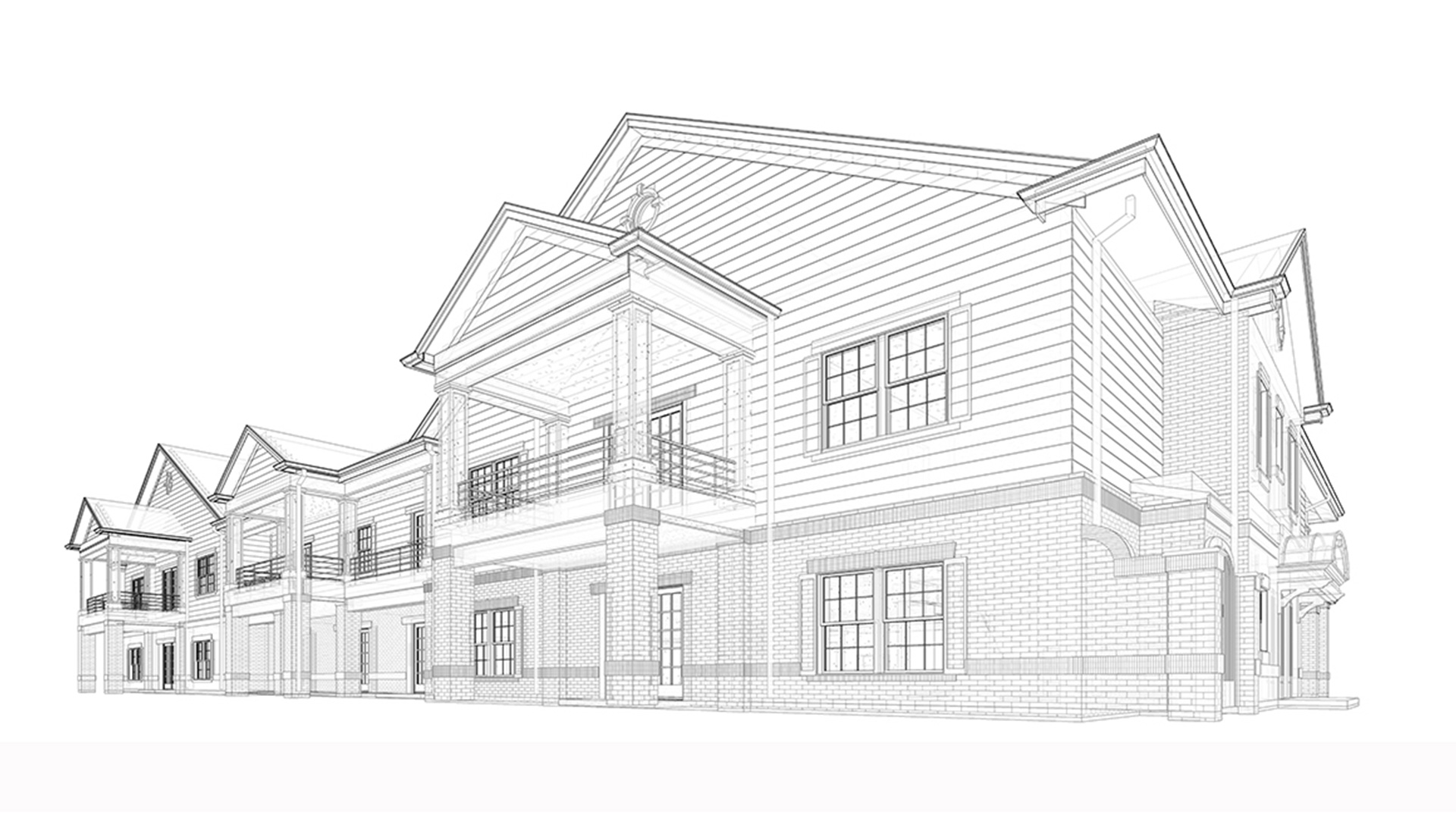 Wireframe-Architectural-Revit-3D-Model--Residence-Home-Project-by-United-BIM