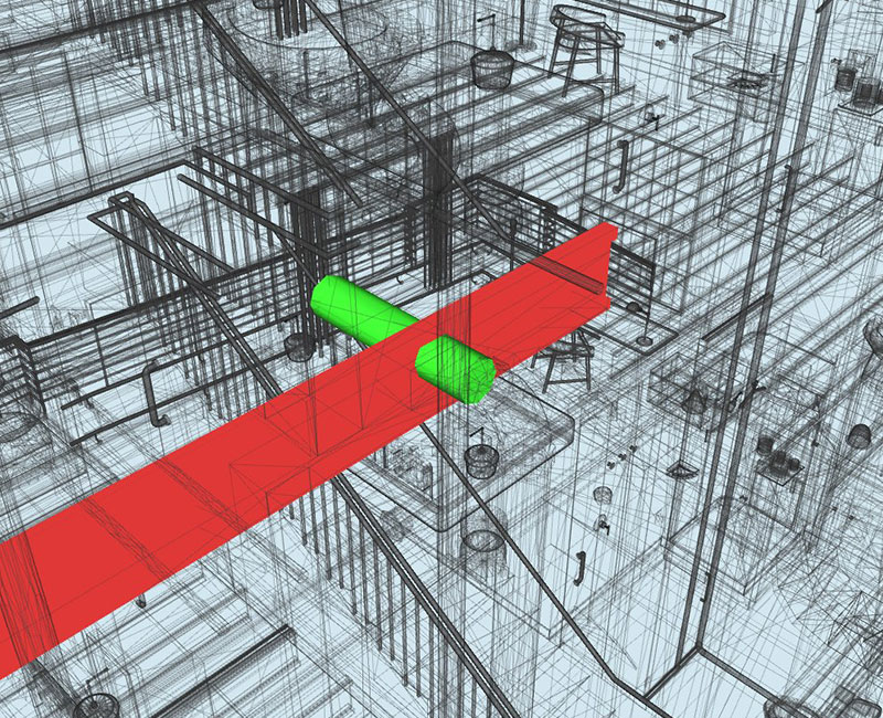 Clash-detected-between-structural-element-and-HVAC-duct-Clash-detection-report-generated-from-Navisworks- Design Coordination Facilitated by BIM