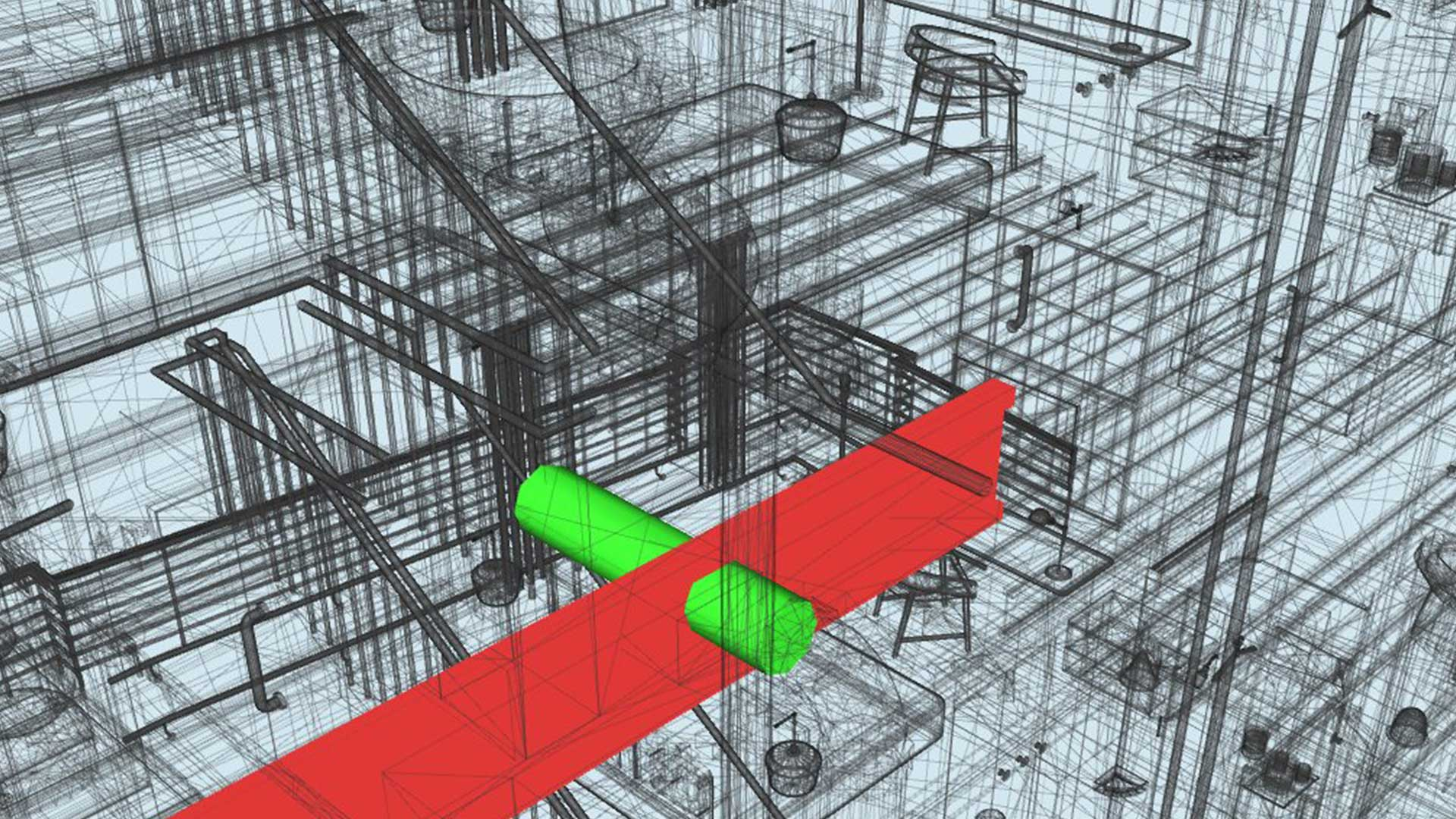 Clash Detected between Structural Element and HVAC duct during BIM Coordination-Glossary of BIM Terms