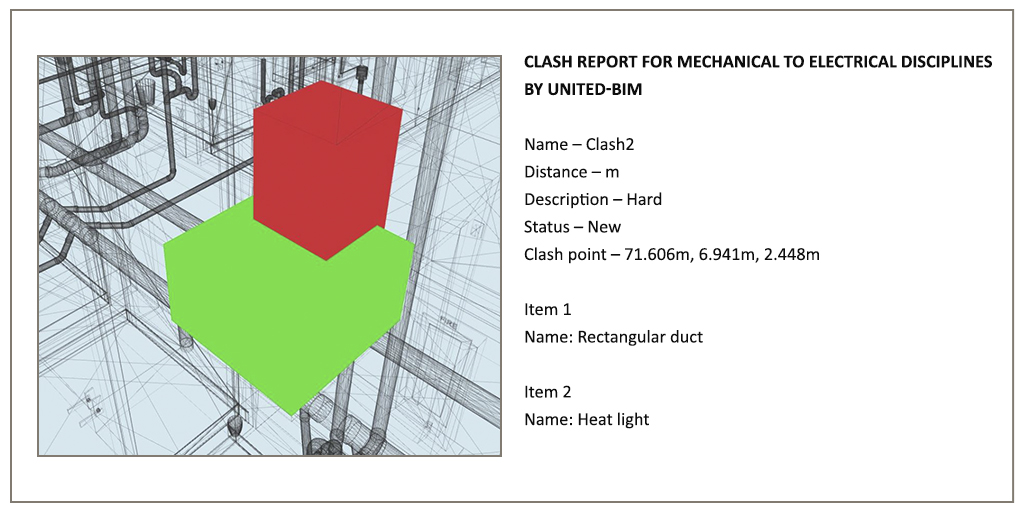 Clash report image between Mechanical to Electrical by United-BIM