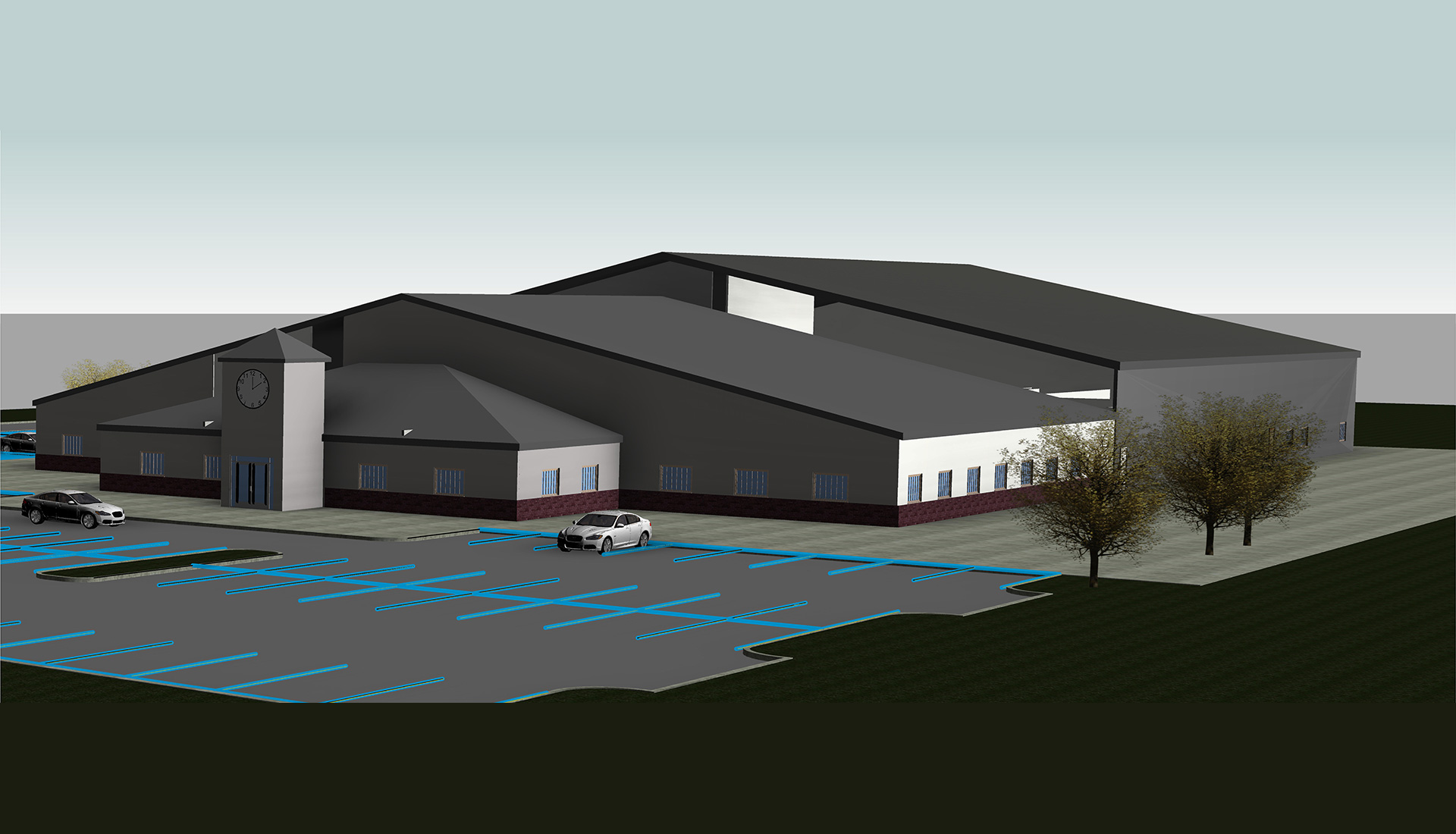 3D-Architectural-Model-with-Parking_Factory-Facility_Accutime-Systems_Industrial-Project_Revit-Modeling-by-United-BIM