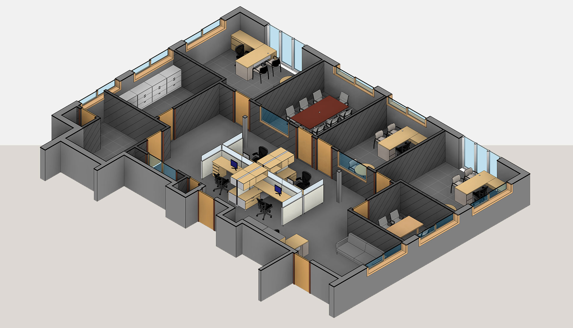 3D-View_Section-of-3D-Revit-Architectural-Model_Office-Space_BIM-Modeling-by-United-BIM