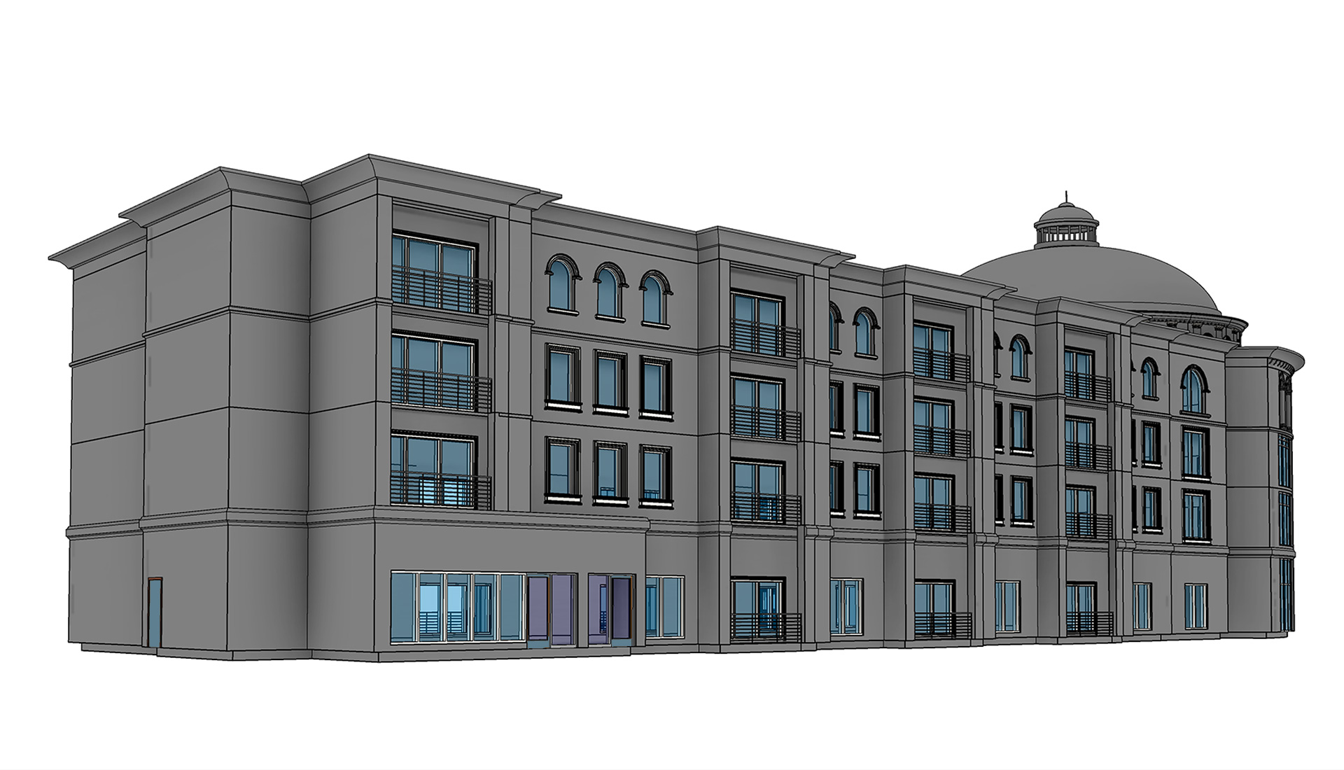 3D-architectural-model-of-hotel-building-project-Revit-Modeling-by-United-BIM