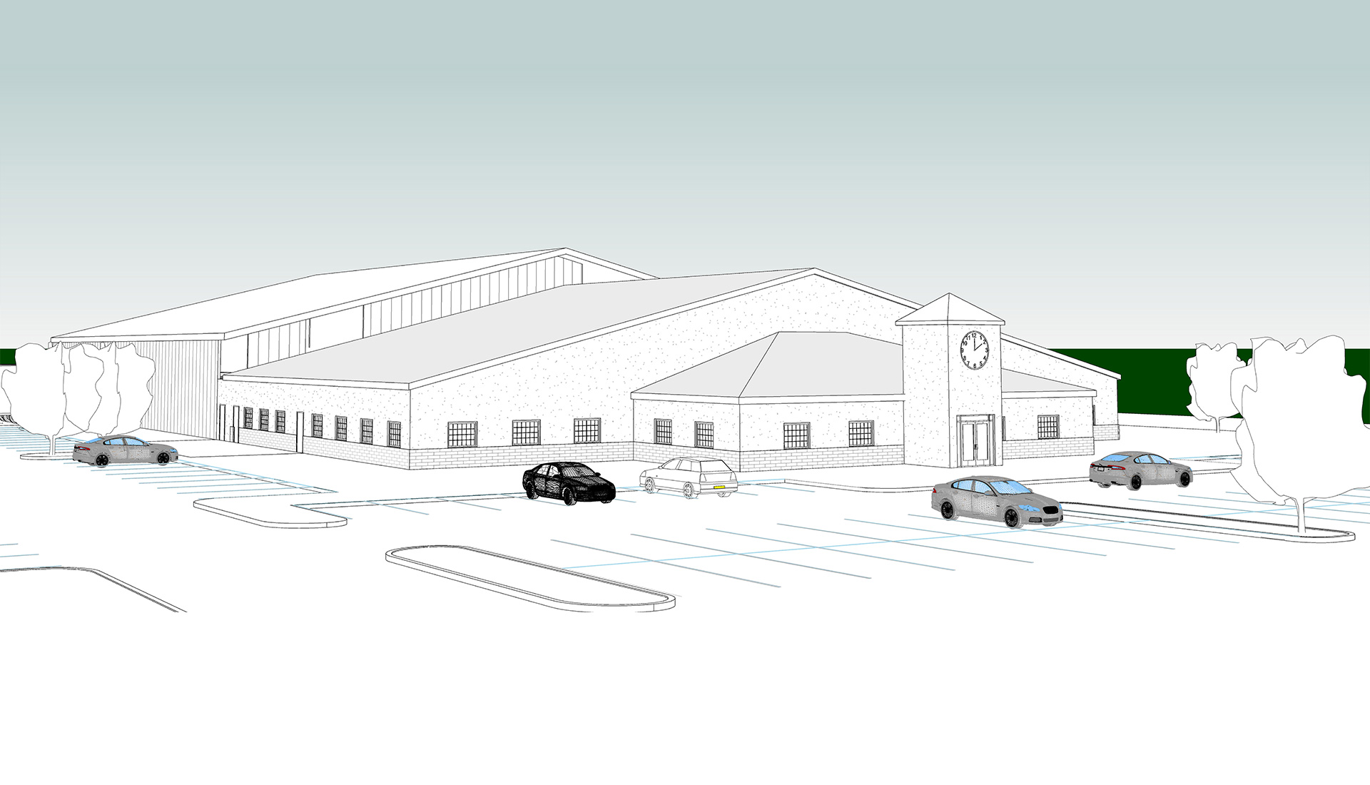 Grey scale-3D-Architectural-BIM-Model-Factory-Facility_Accutime-Systems_Industrial-Project_Revit-Modeling-by-United-BIM