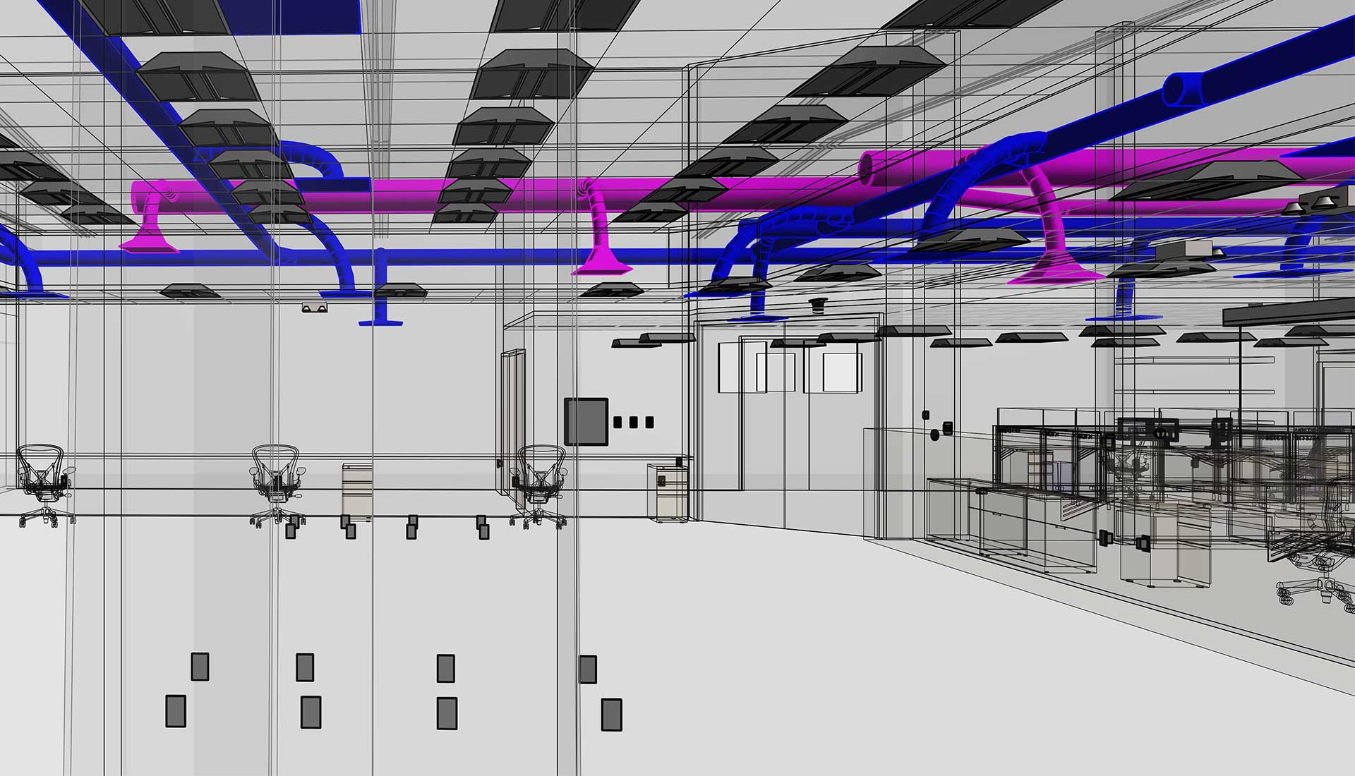 HVAC-Ducting-System-and-Electrical-System-with-Wireframe-Architectural-View