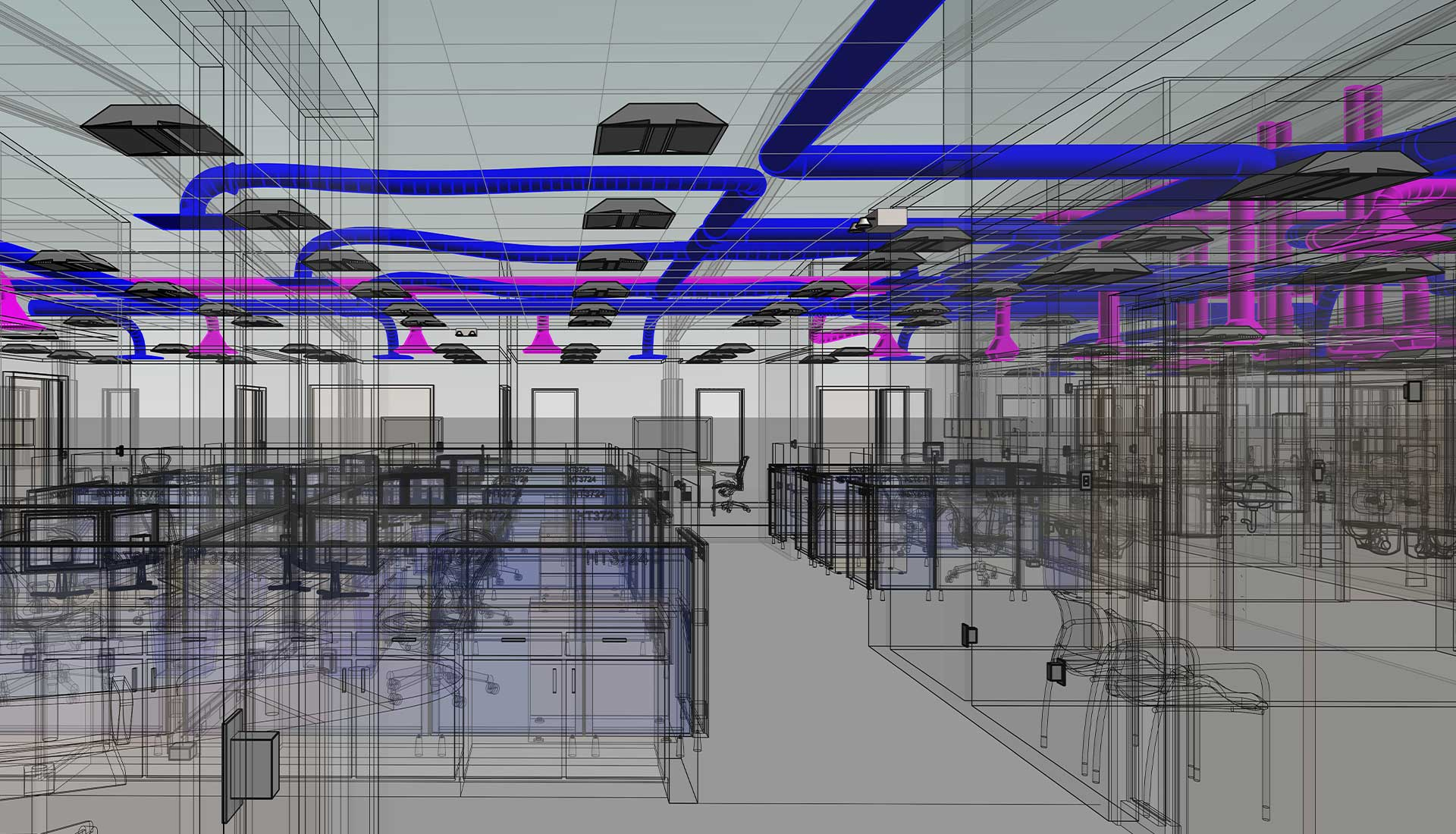 HVAC-Ducting-System-on-Roof-with-Wireframe-Architectural-View-inside-of-a-Industrial-Project_BIM-Modeling-by-United-BIM