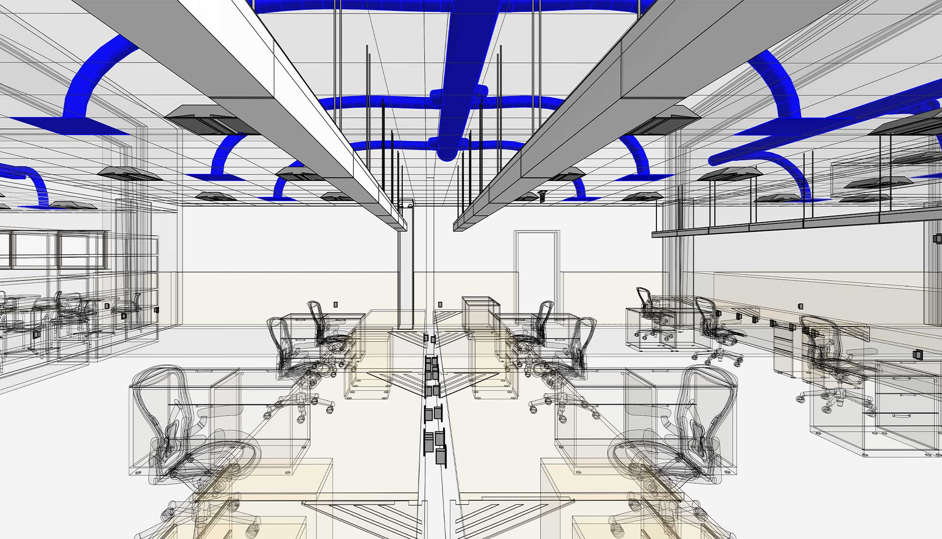 HVAC-Ducting-System-on-Roof-with-Wireframe-Architectural-View_BIM-Modeling-by-United-BIM