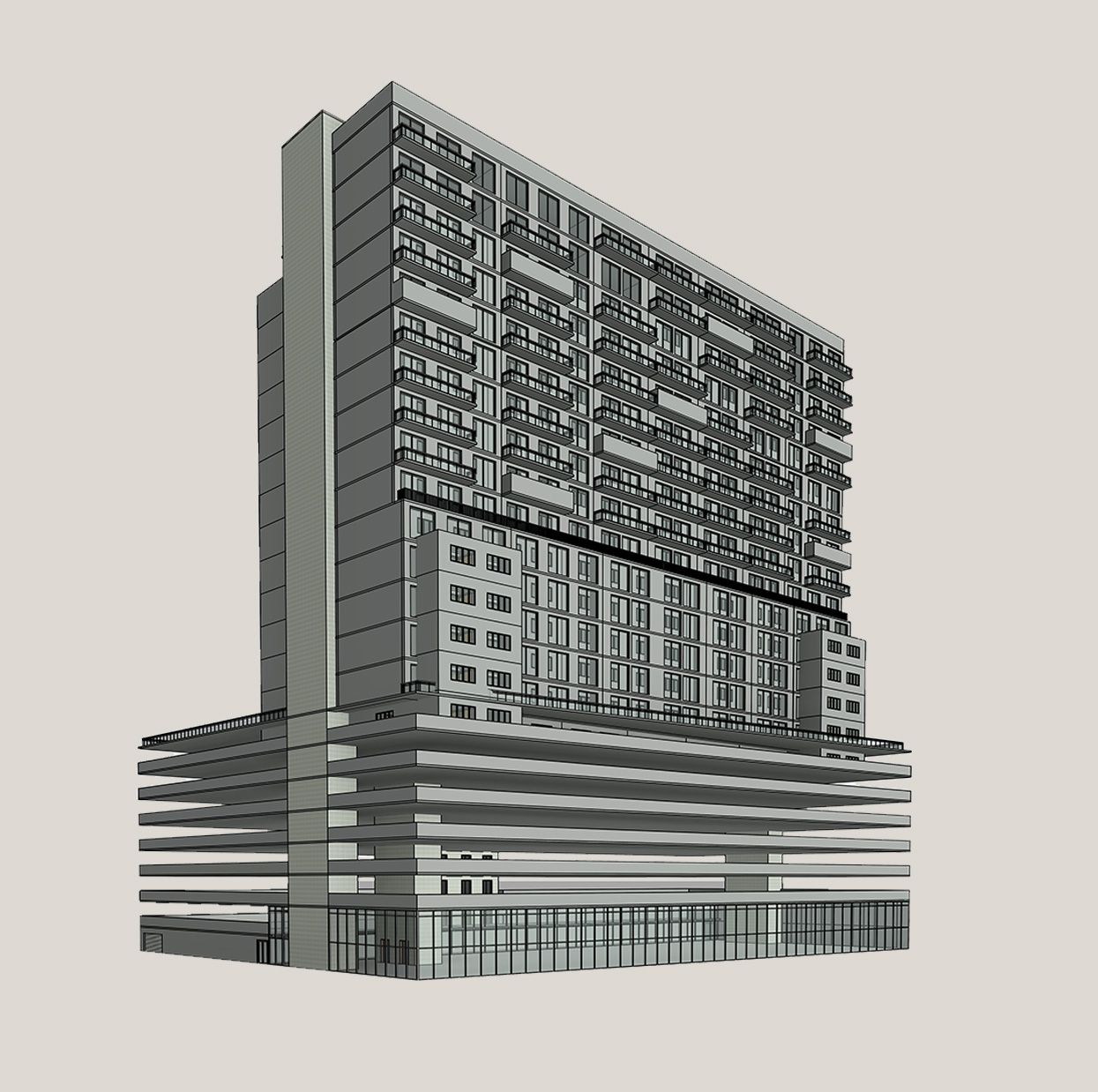 Rear-View_Architectural-BIM-Model_Multi-Story-Retail-Shopping-Mall-Facility_Modeling-by-United-BIM
