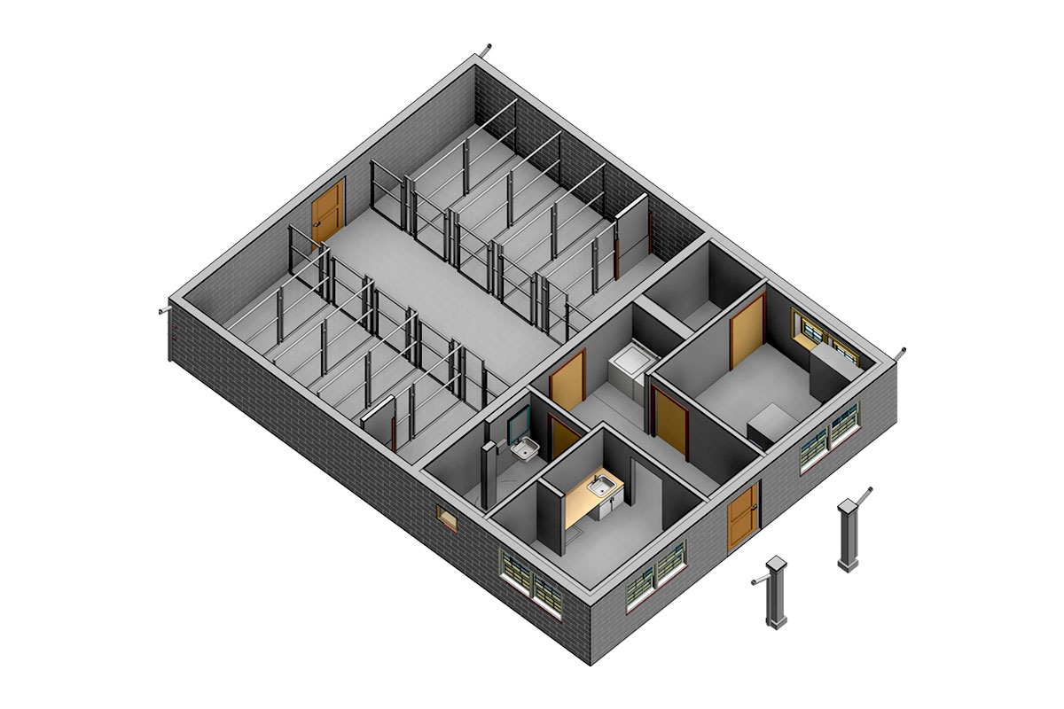 Section-View-Windsor-Animal-Hospital-Architectural-Modeling-Services-by-United-BIM_