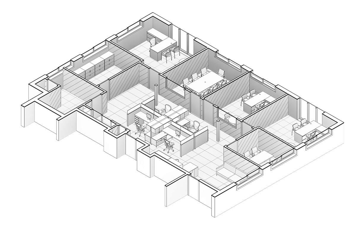 Section-View-of-Office-Space-Renovation-Project-Revit-BIM-Modeling-Services-by-United-BIM