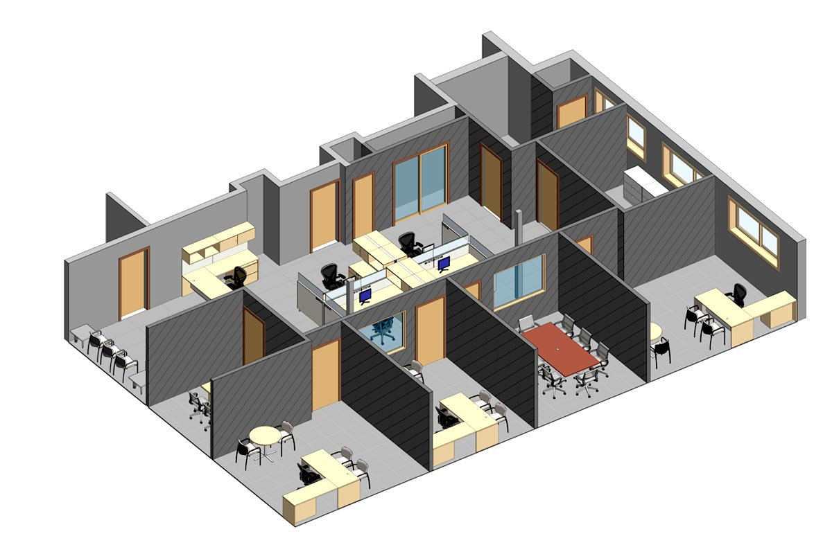 Section-View-of-Office-Space-Renovation-Project-Revit-BIM-Modeling-Services-by-United-BIM_