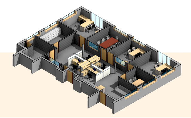 Section-View_3D-Revit-Architectural-Model-with-Custom-Revit-Families_Office-Space_BIM-Modeling-Services-by-United-BIM_
