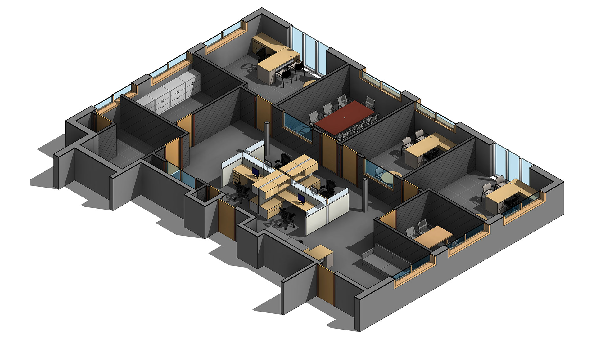 Section-View_3D-Revit-Architectural-Model-with-Custom-Revit-Families_Office-Space_BIM-Modeling-by-United-BIM