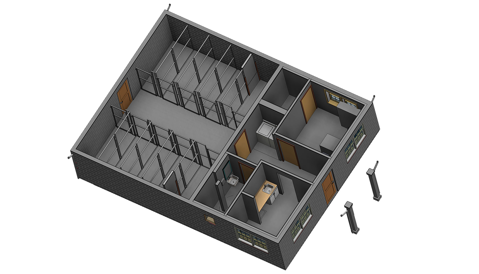 Sectional-View_Architectural-Model_Windsor-Animal_Hospital_BIM-Modeling-Project-by-United-BIM