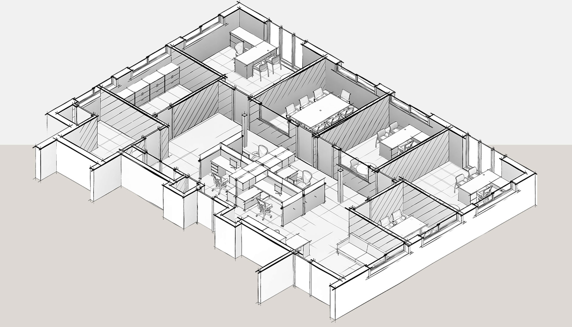 Sketched-View_Section-View_3D-Revit-Architectural-Model_Office-Space_BIM-Modeling-by-United-BIM