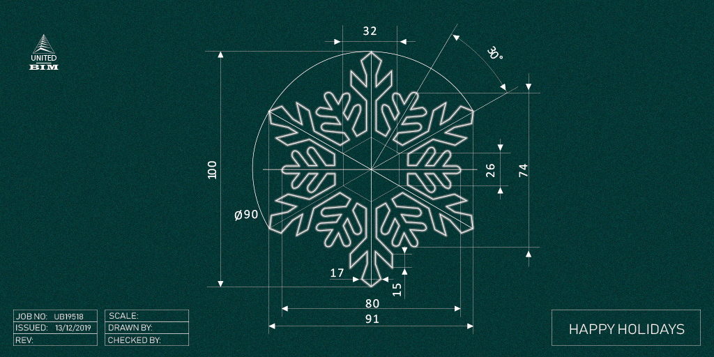 Snowflake Design Drawing- Christmas Season_United-BIM