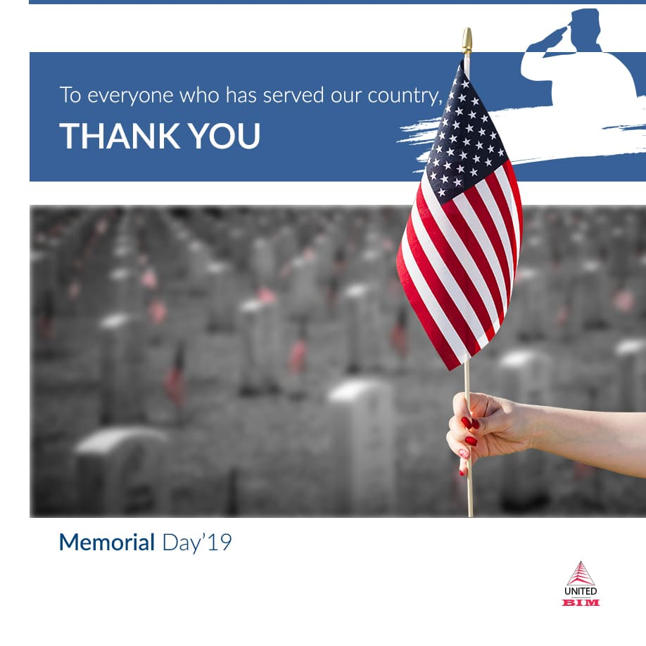 Celebrating Memorial Day 2019 | Graphic by United-BIM