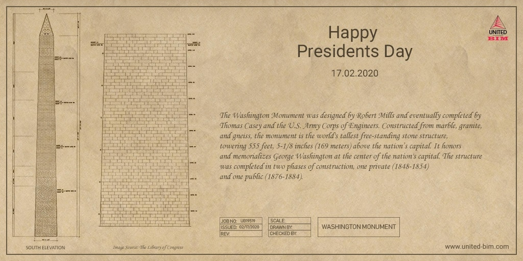 South Elevation_Washington Monuments_Celebrating Presidents Day_United-BIM