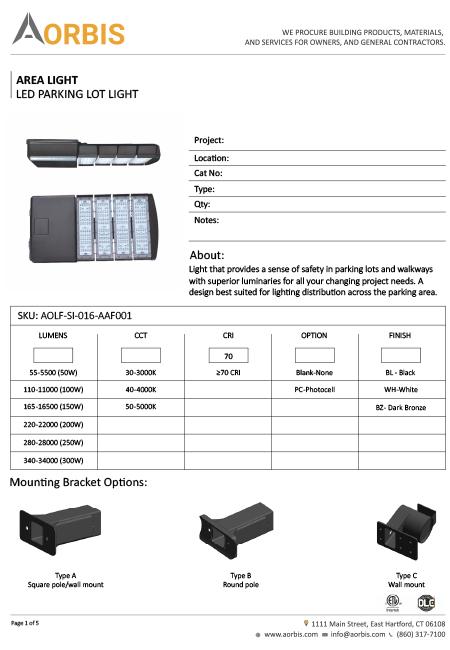 Aorbis Product Cut-Sheet/Spec-Sheet