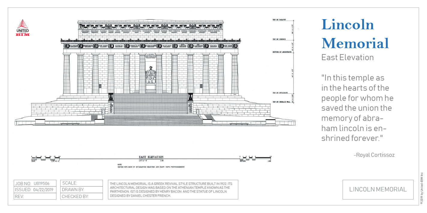 East elevation of the Lincoln Memorial | Graphic by United-BIM