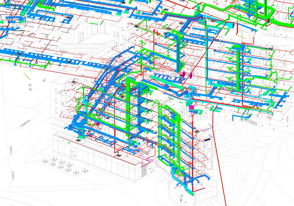 MEPFP BIM modeling and clash detection of Ivy-league university by United-BIM.
