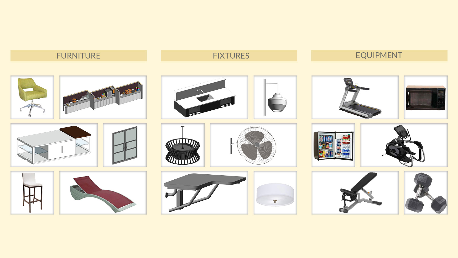 Revit Families for Furniture, Fixtures & Equipment for various hotel brands by United-BIM.