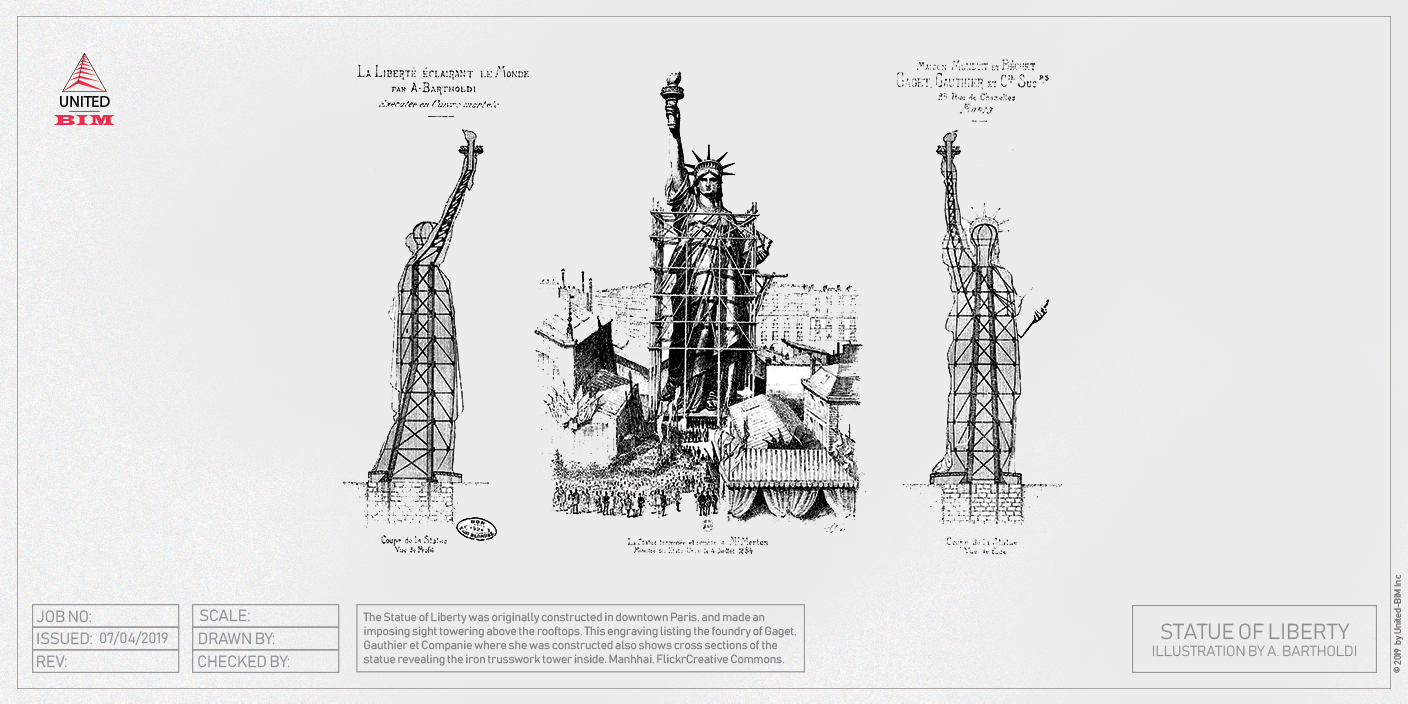 Statue of Liberty: An original sketch by A. Bartholdi | Graphic by United-BIM