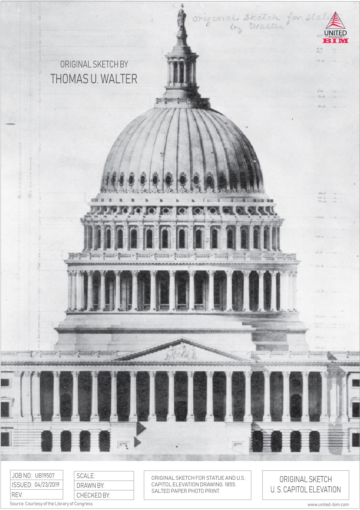Original Sketch of the US Capitol by Thomas U. Walter | Graphic by United-BIM