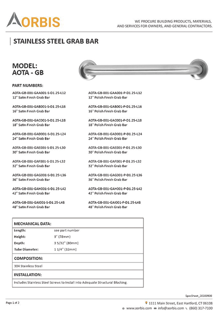 AORBIS Product Spec Sheet for Grab bar by United-BIM