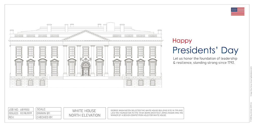 North elevation of the White House | Presidents Day graphic by United-BIM