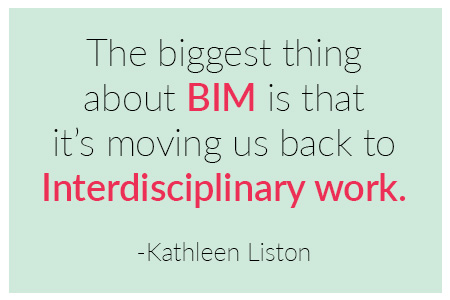 The biggest thing about BIM is that it is moving us back to interdisciplinary work quote by Kathleen Liston