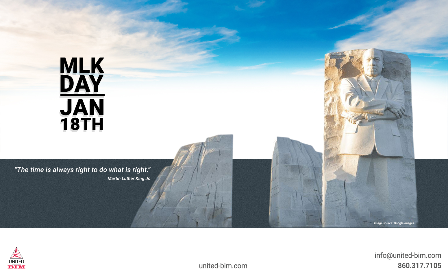 Happy Martin Luther King Jr. Day 2021 Graphic by United-BIM