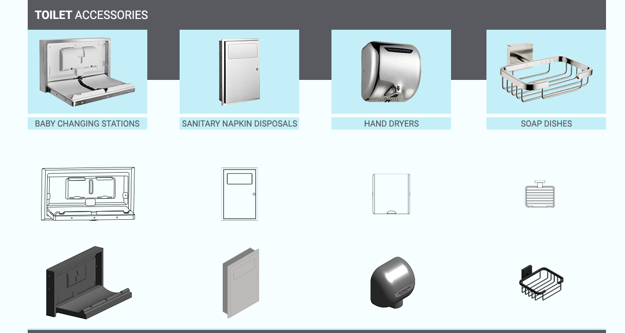 Revit Family Development for Toilet Accessories for a Procurement firm by United-BIM