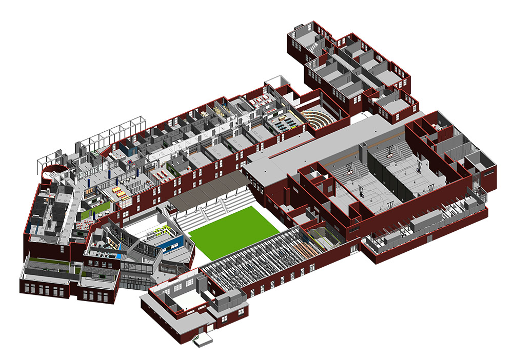 Section View of a Middle School Project by United-BIM