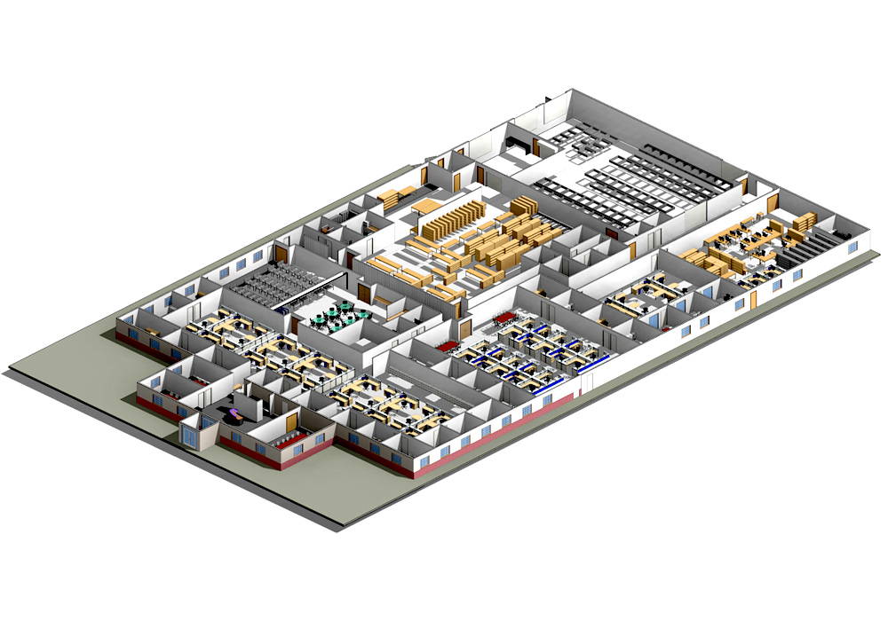 Section View of a Commercial Project by United-BIM