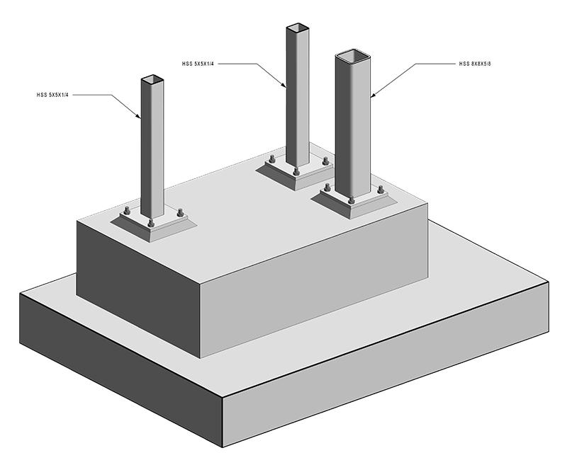 Concrete Pier 3D View