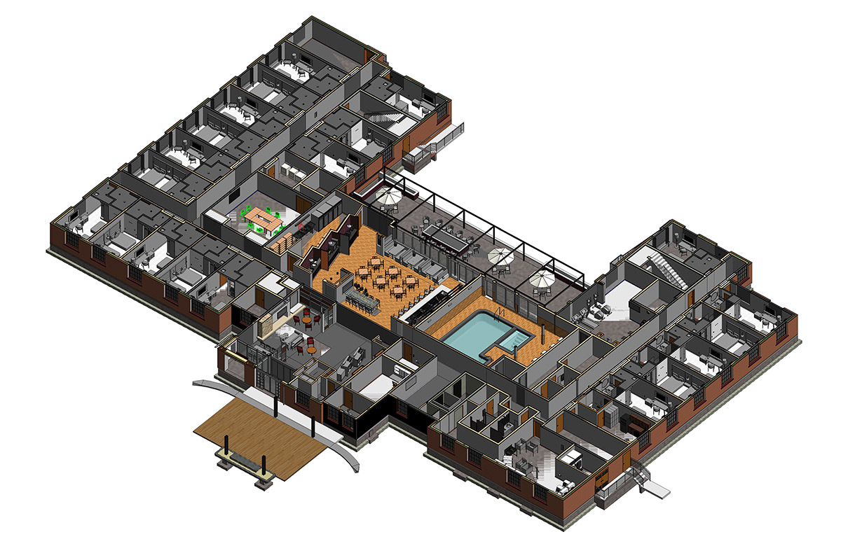 Section View of Architectural Modeling and Coordination by United-BIM Inc.